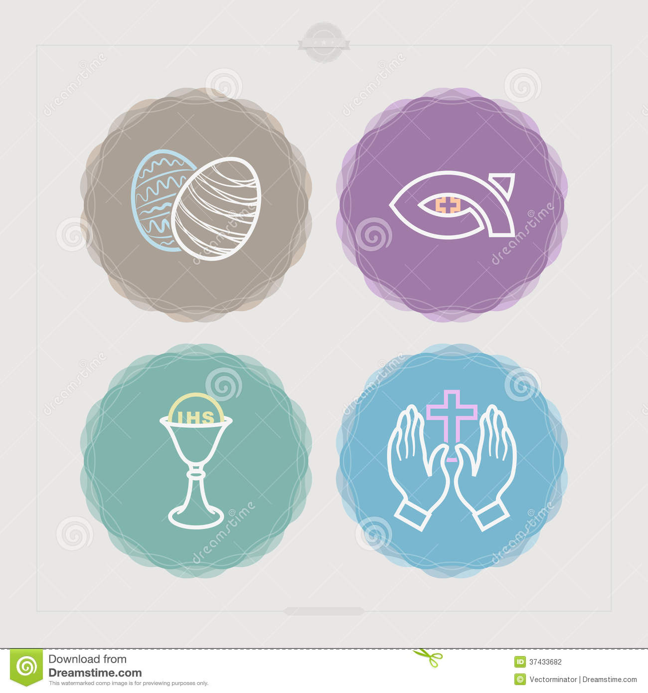 ... Chalice, Praying hands. Rosette Vector Icons Set (with some