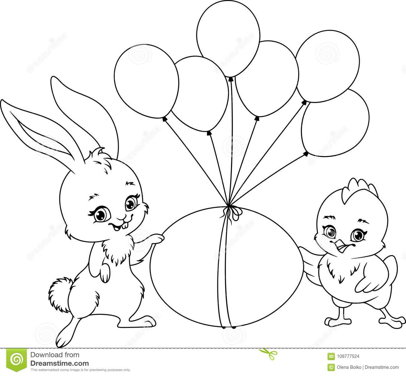 Easter Illustration Coloring Page Stock Vector - Illustration of ...
