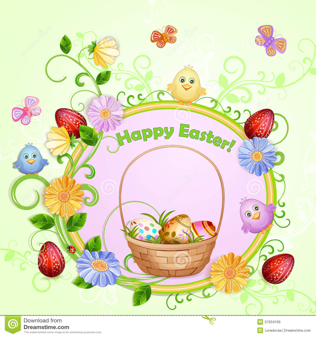 Easter illustration with eggs.
