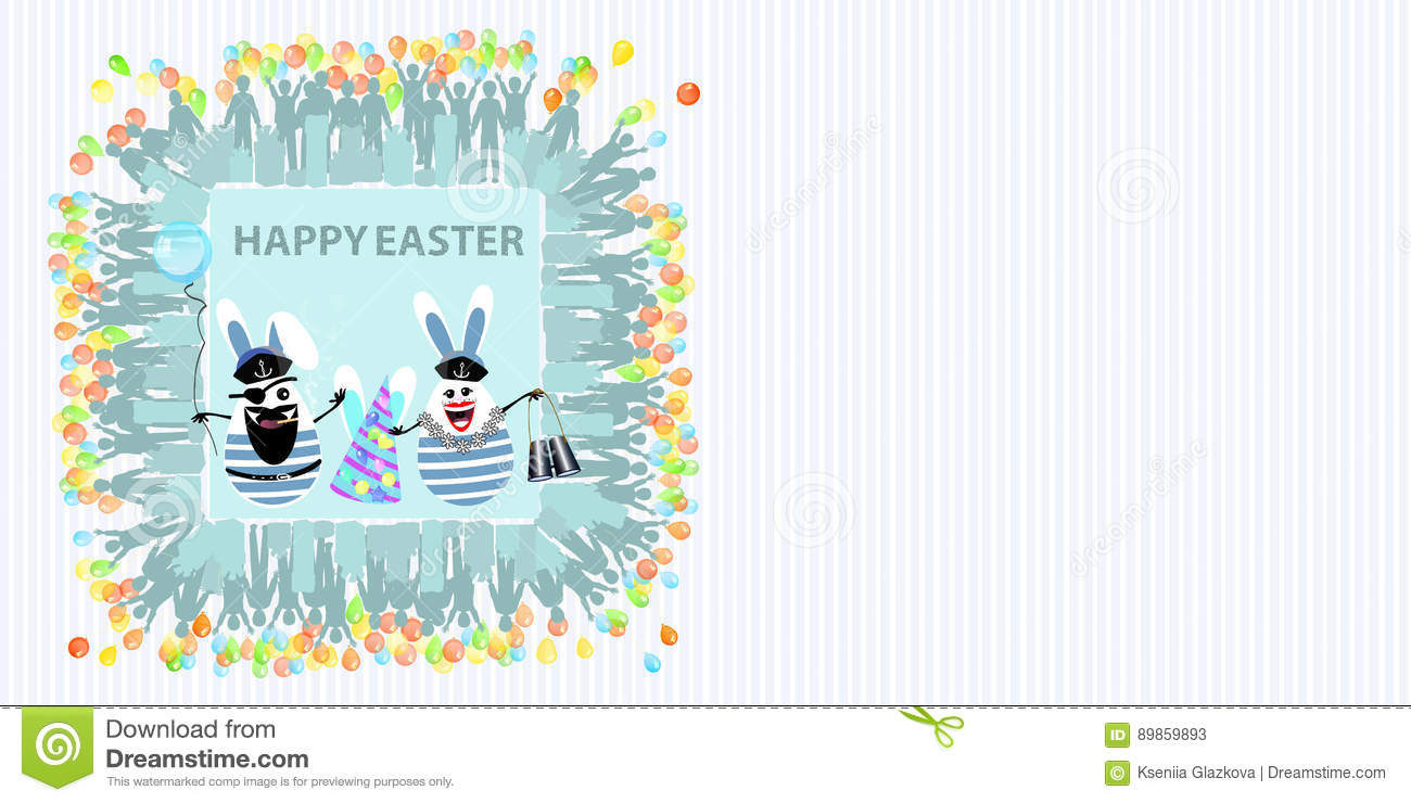 c76124137ec7 Easter illustration with place for text. Rabbits captain and sailors with a  balloon of air and binoculars in the hands