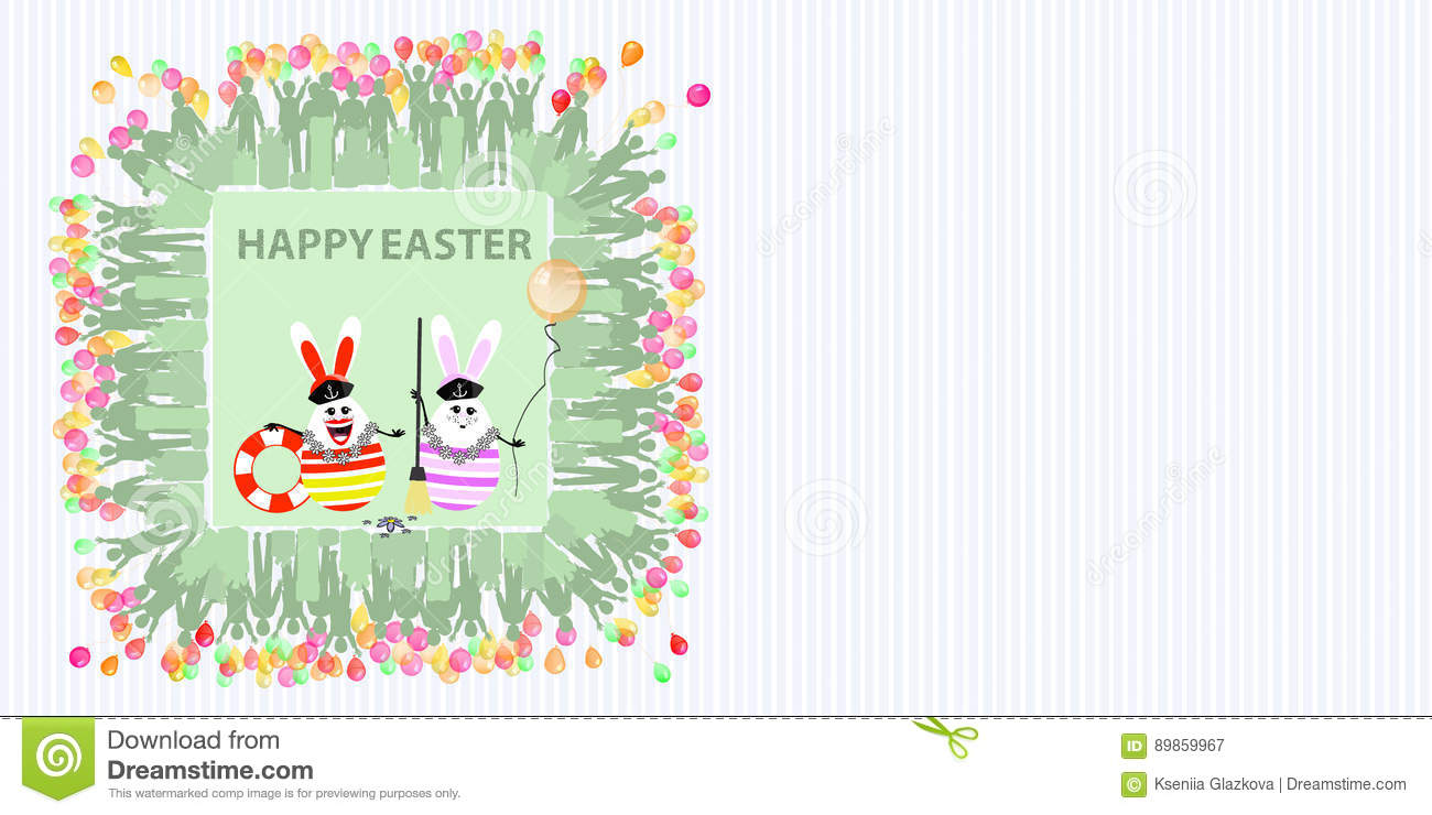 fb115732a260 Easter illustration with place for text. Rabbits sailors with a balloon of  air and life buoy and a broom against the background of a striped  horizontally ...