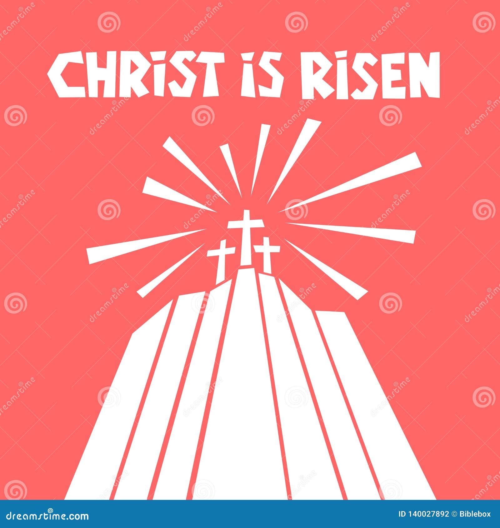 Easter illustration. Three crosses on Calvary