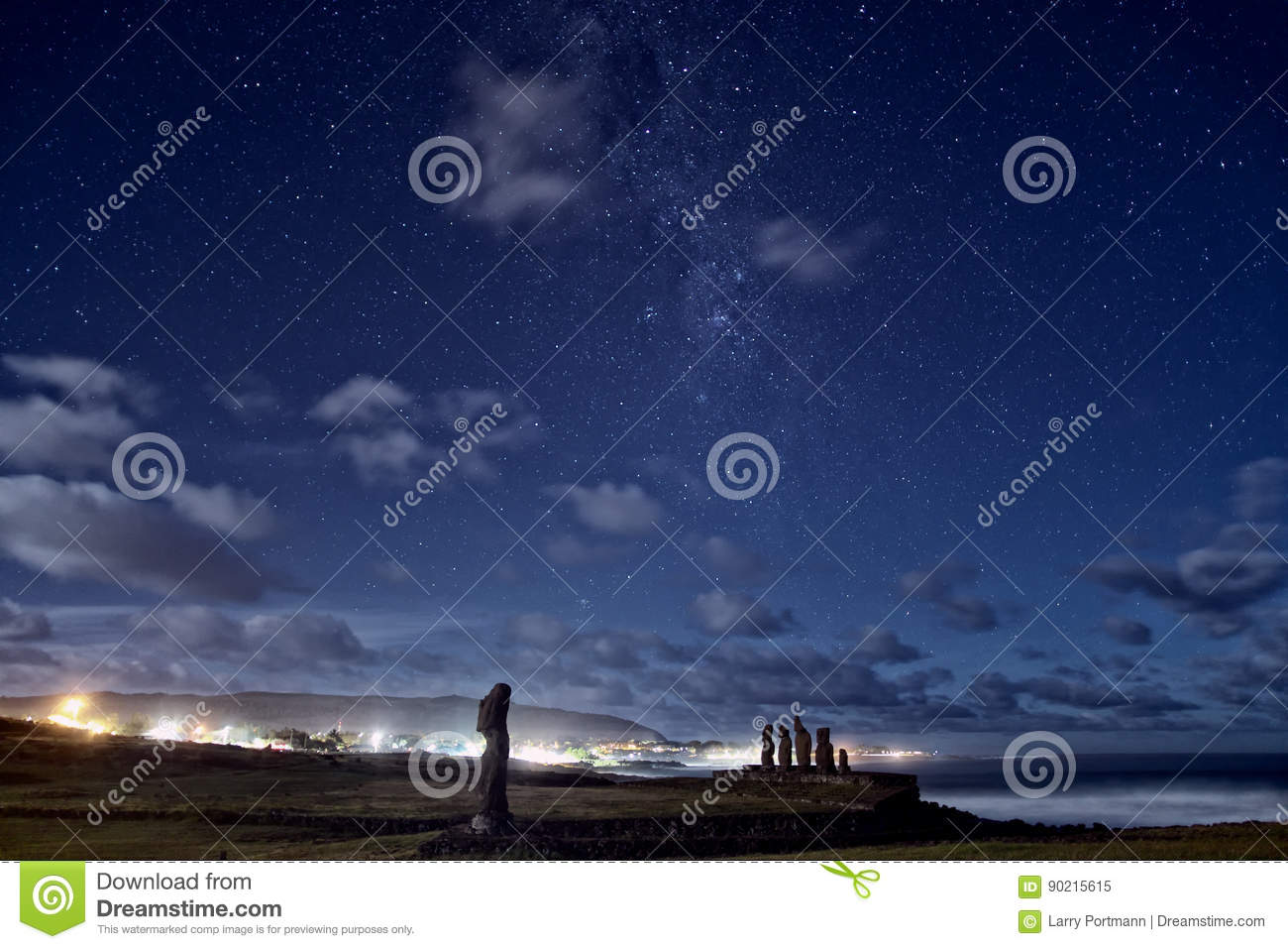Easter Island Moai Statues Under The Stars