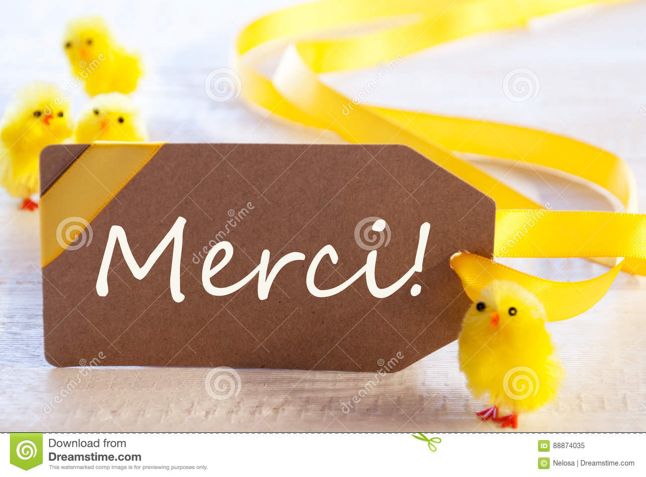 Easter Label Chicks Merci Means Thank You Stock Image