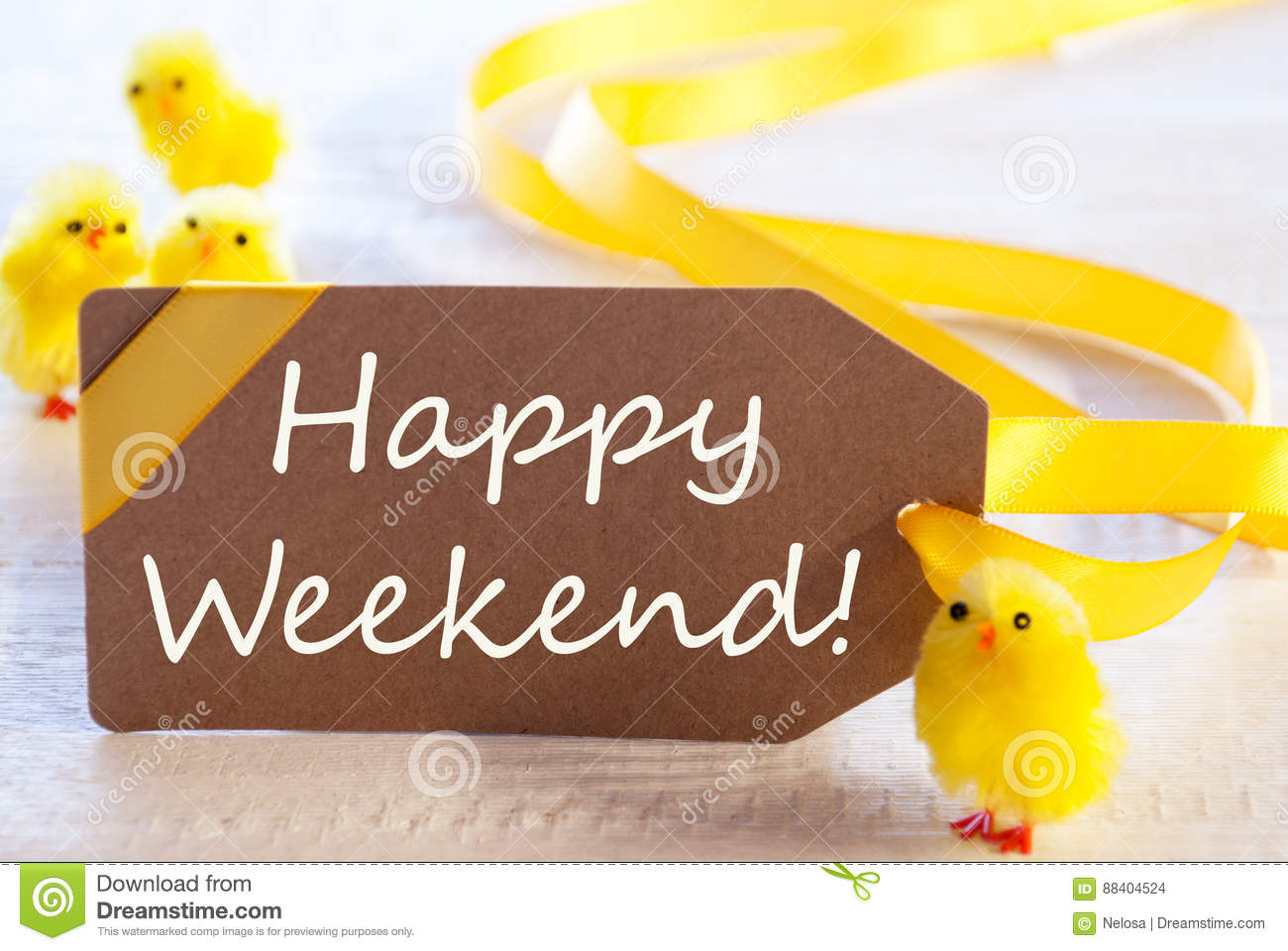 Easter label chicks text happy weekend stock photo image of label with english text happy weekend easter decoration like chicks white wooden background card for seasons greetings m4hsunfo