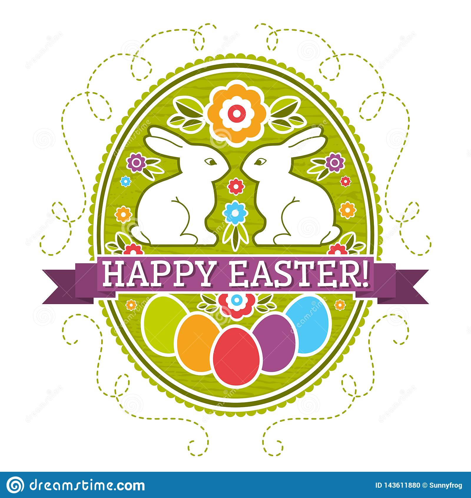 Easter label with color eggs, rabbit and flowers. Holiday Easter greetings card. Print design, label, sticker, scrap booking,