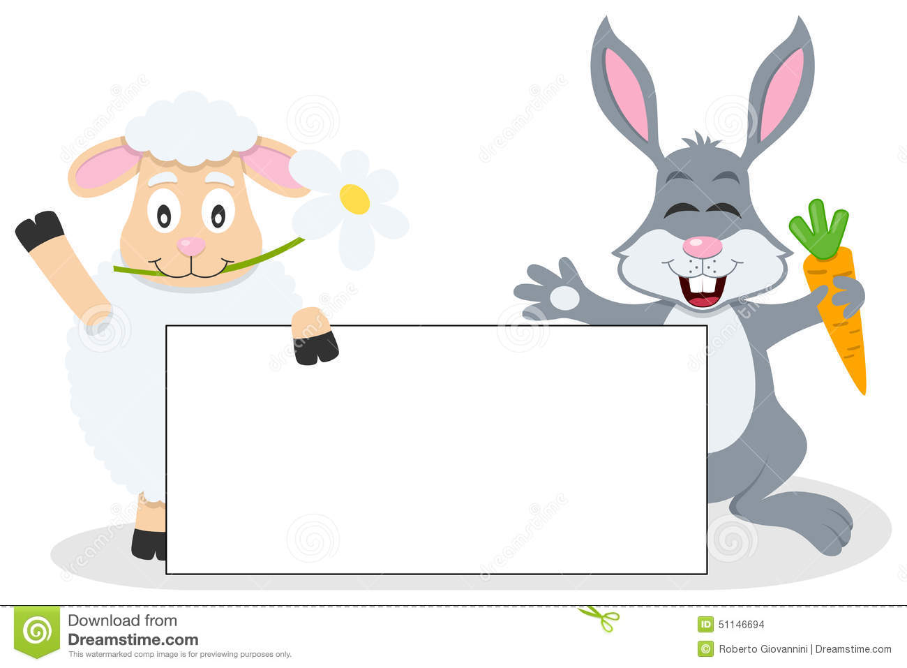 Easter Lamb Amp Rabbit With Blank Banner Stock Vector