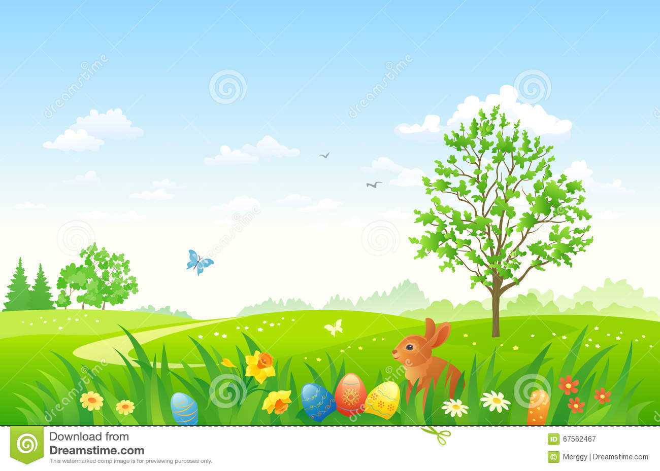 easter landscape with a bunny stock vector illustration of