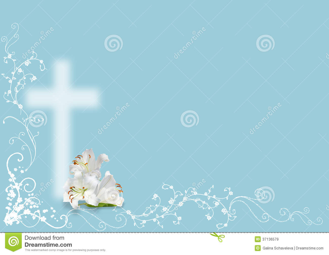 Easter Lily And Cross Royalty Free Stock Images