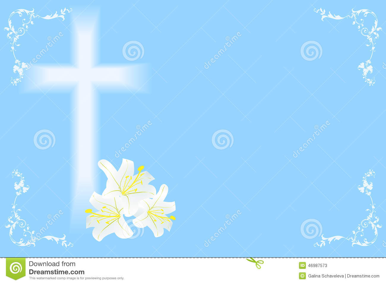Easter lily and cross stock vector. Image of christ - 46987573