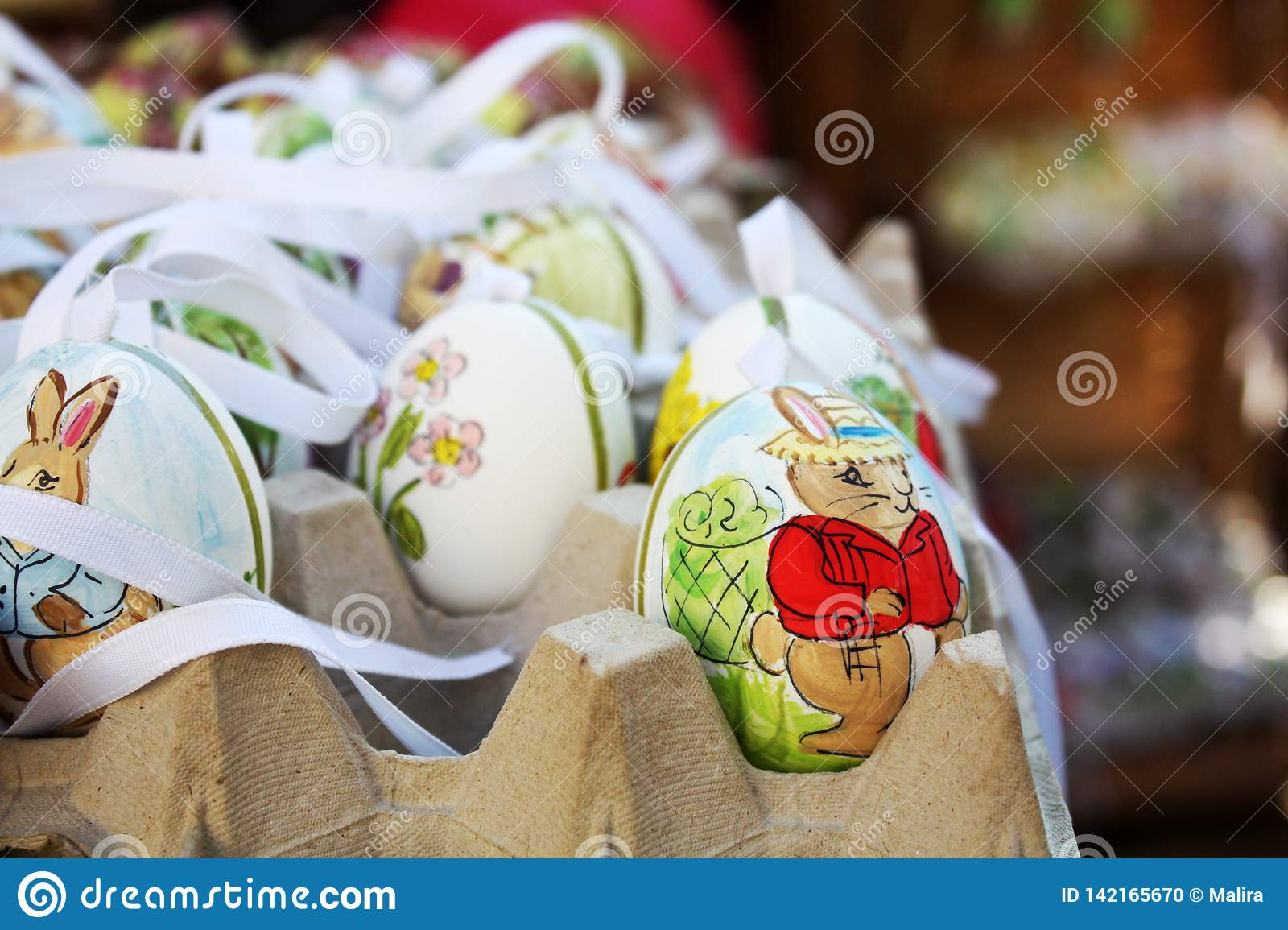 Easter Market Decor With Ribbons, Birds, Eggs. Stock Photo - Image