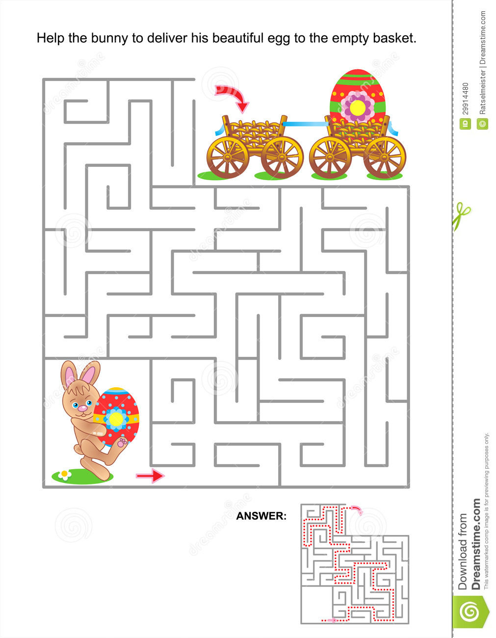 Easter maze game or activity page for kids: Help the little bunny to ...