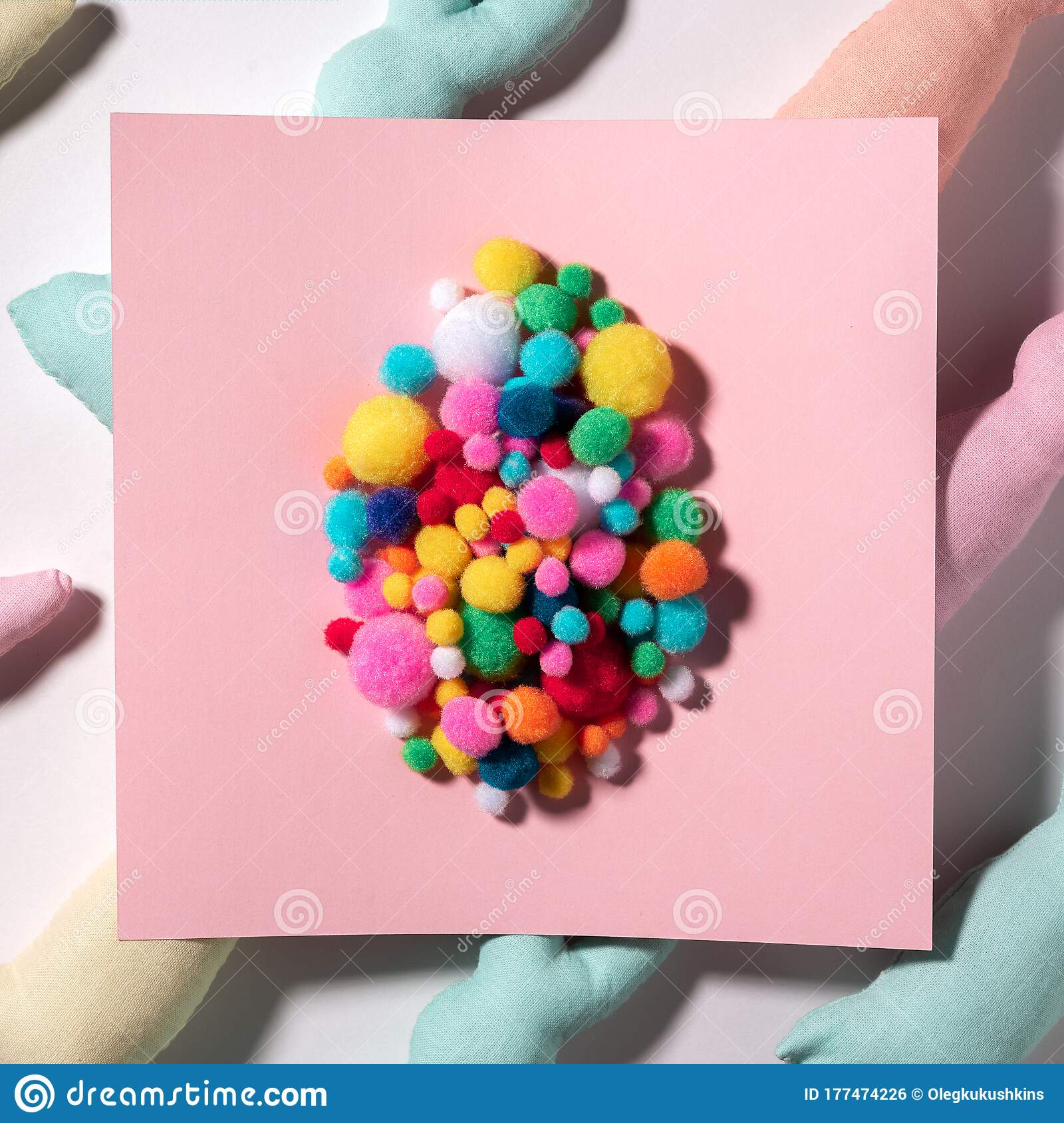 Easter Multicolored Egg Made Of Soft Fabric Balls On Pink Paper Card And Toys Rabbits In The Background Stock Photo Image Of Minimalist Happy 177474226