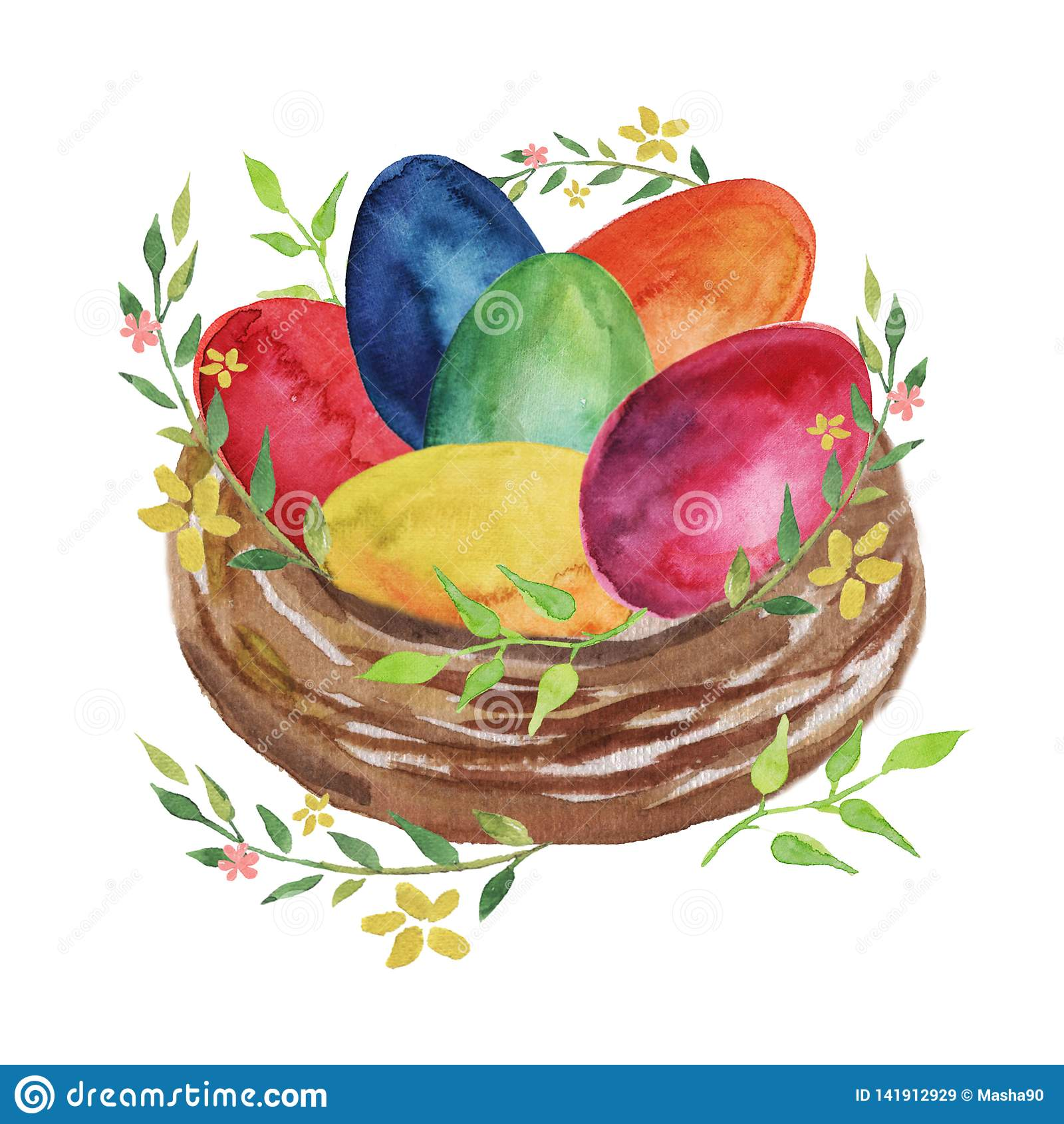 Easter nest with colored Easter eggs, flowers and spring plants on a white background.