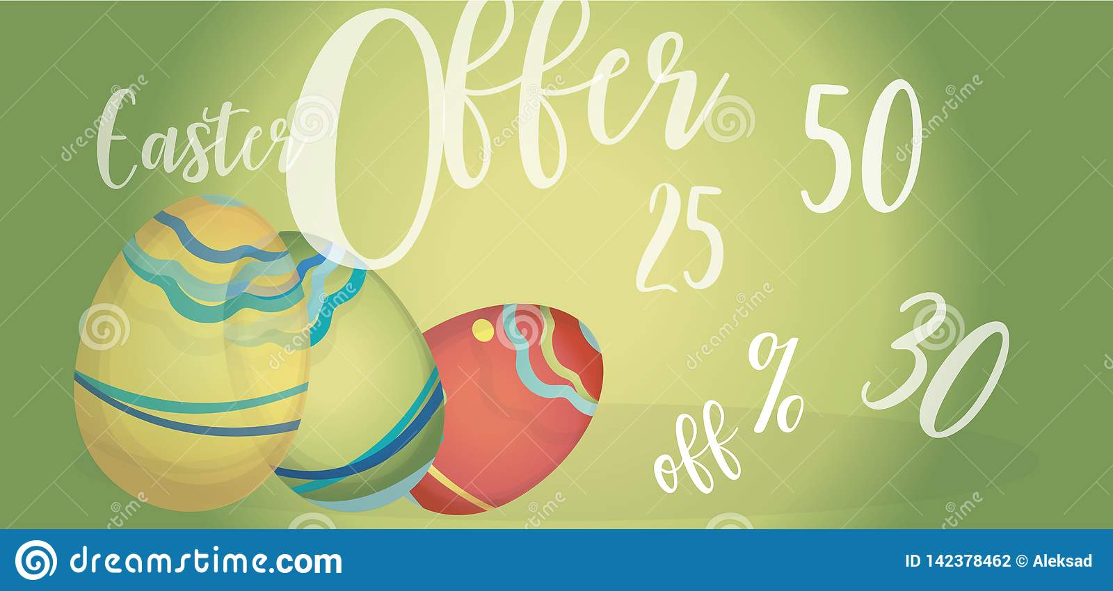 Easter Offer Advertising Banner with  Eggs and Percent Off