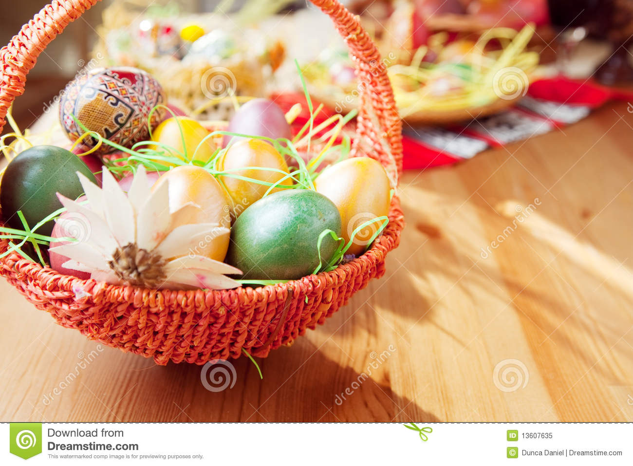 Easter Painted Eggs In Traditional Basket Royalty Free