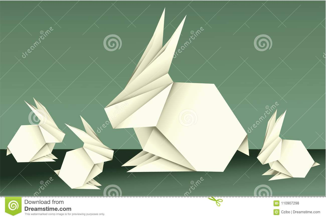 Easter Origami Decorations With Holiday Elements Stock Vector