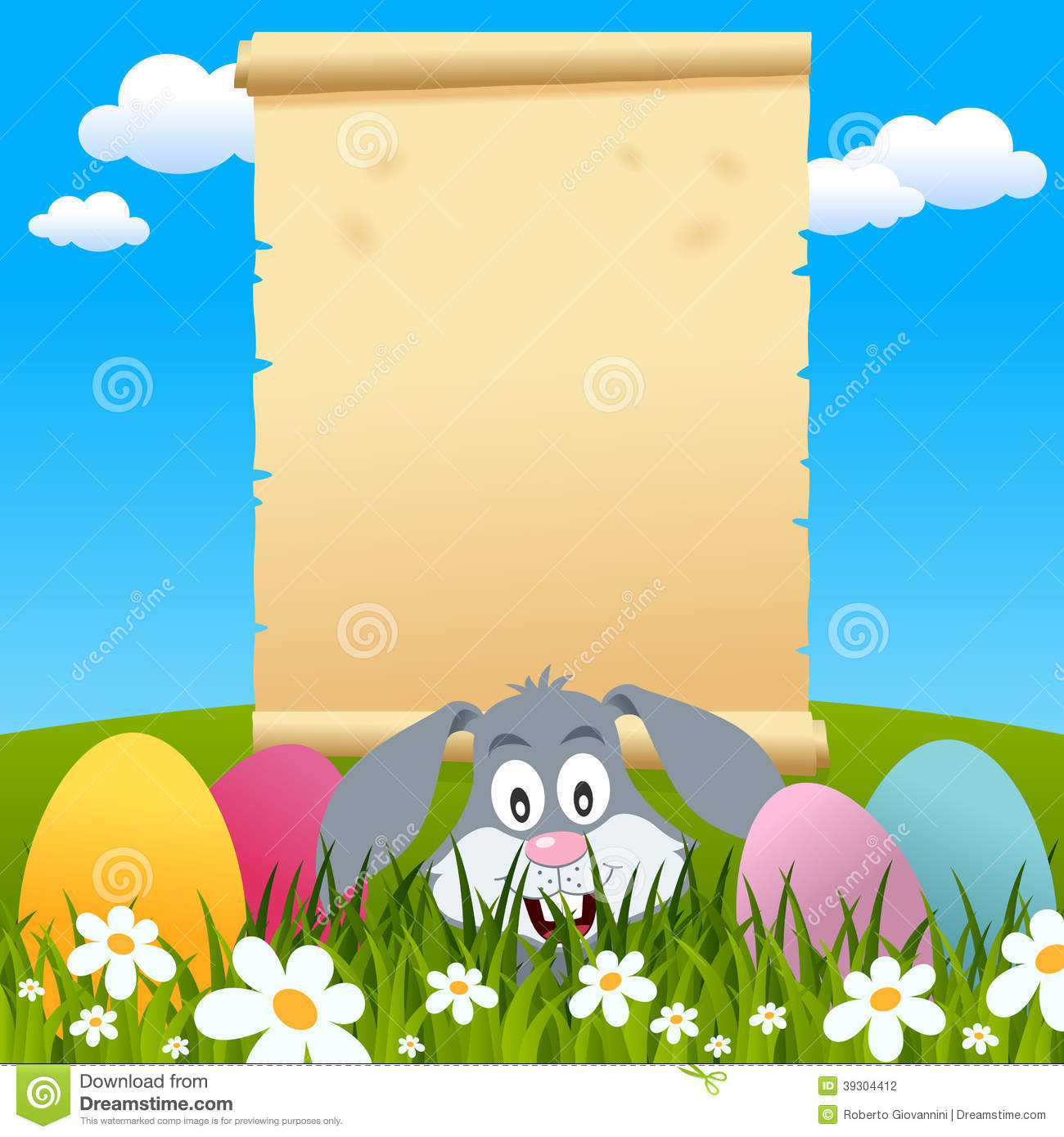 easter parchment scroll in a meadow stock vector