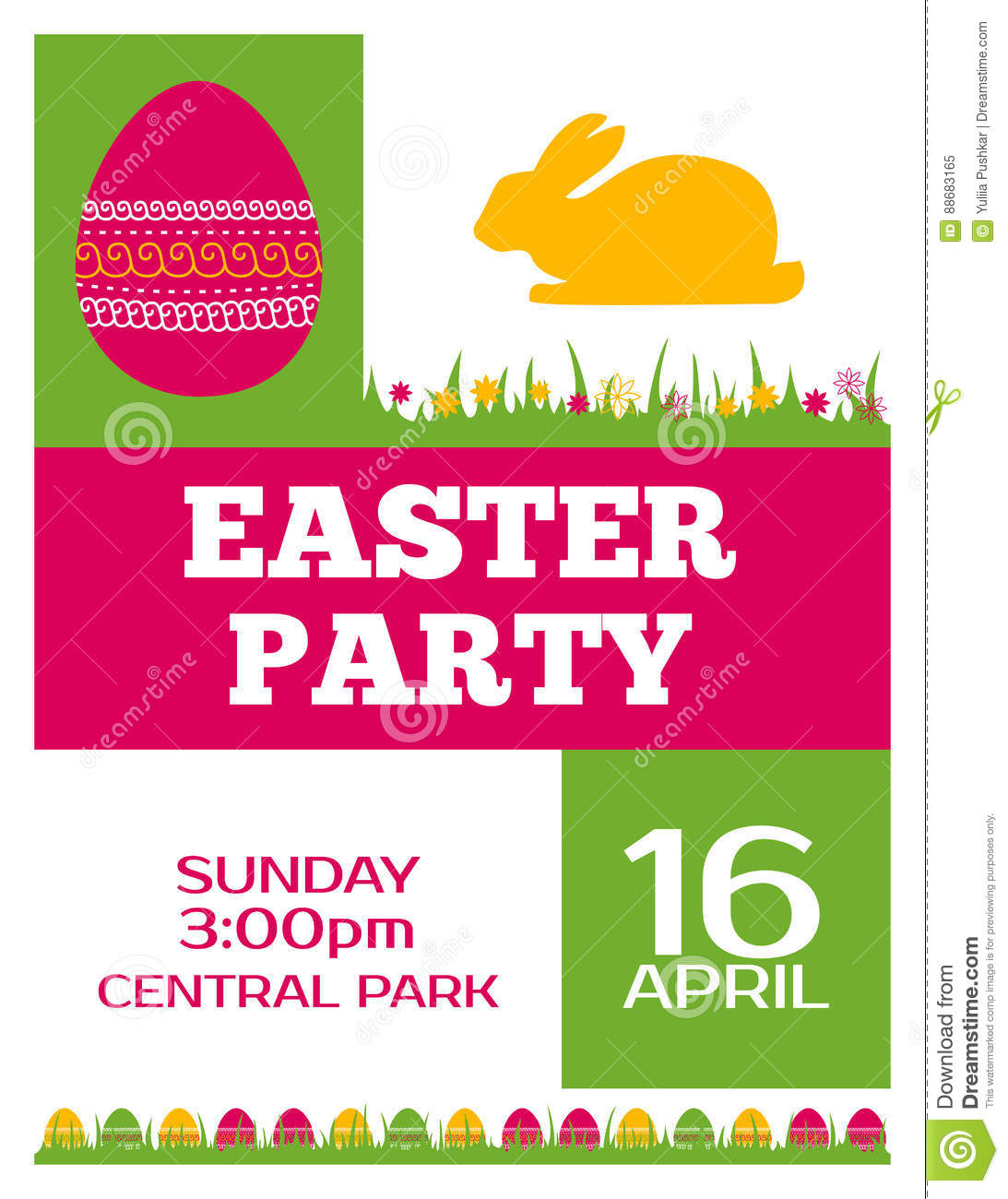 Easter Party Invitation Poster Flyer Design Stock Vector Image
