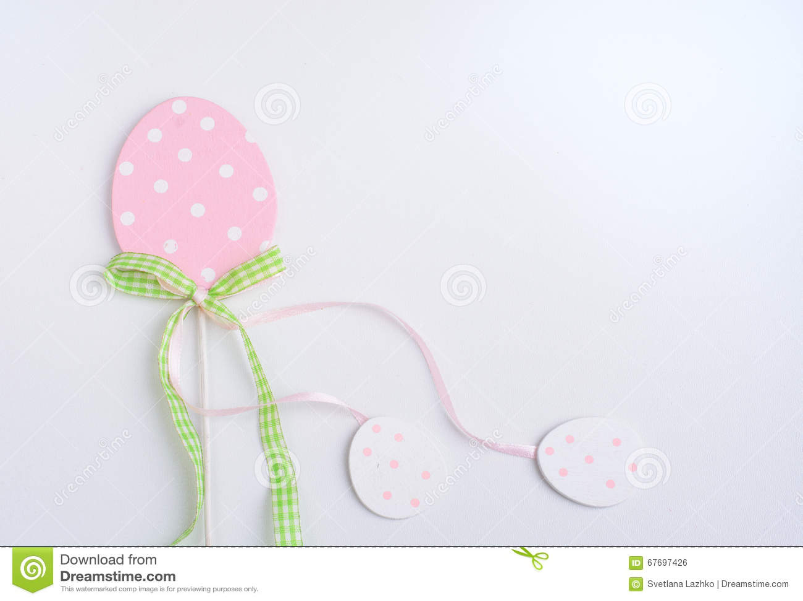 Easter pastel decor on white background.