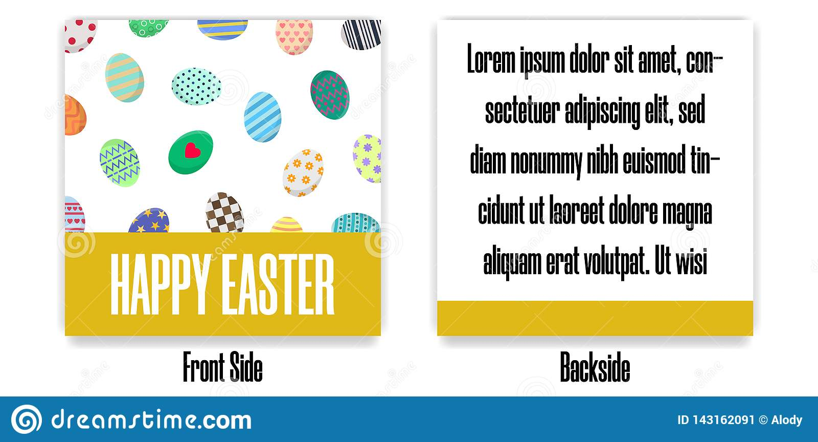 Easter Postcard. Greeting or Invitation with Different Eggs. Front Side and Backside of Postcard. Vector illustration.