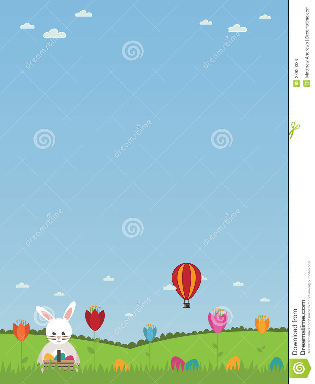 Bright easter poster with easter bunny, eggs and flowers, with copy ...