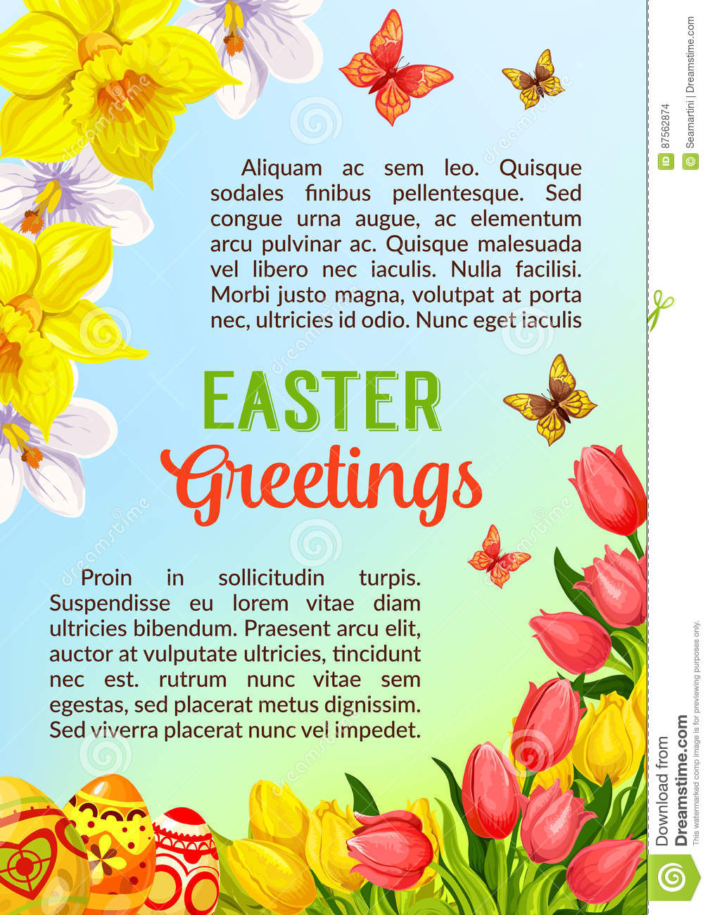 Easter Poster Greeting Paschal Eggs Vector Flowers Stock Vector
