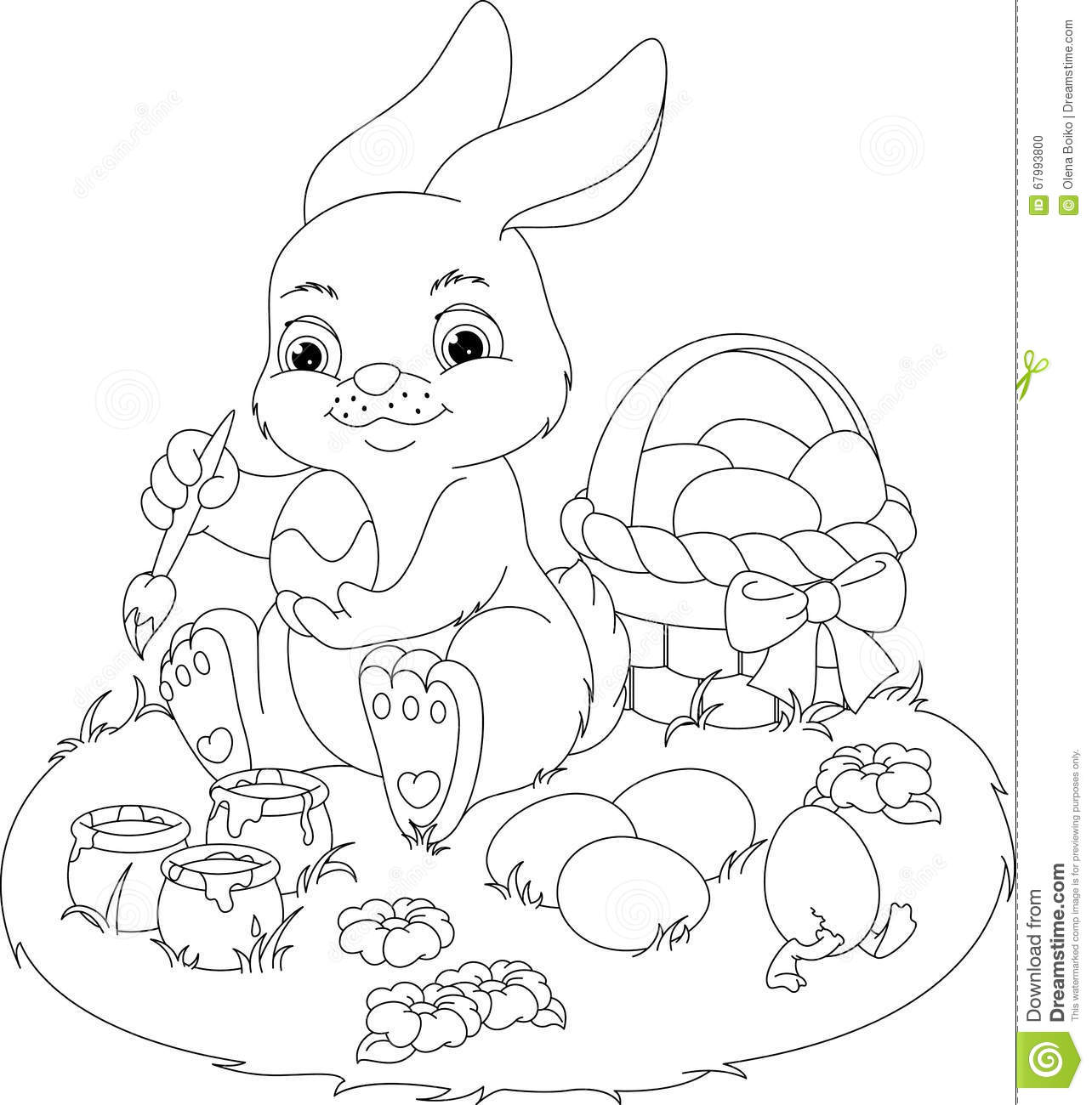 easter rabbit coloring page stock vector image 67993800