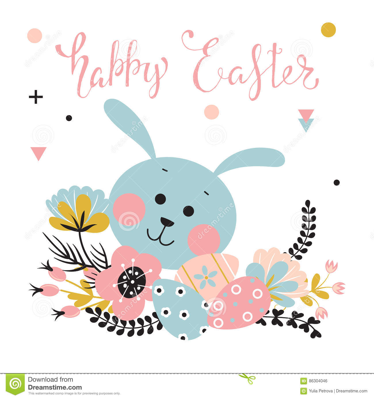 Easter rabbit, flowers and eggs.