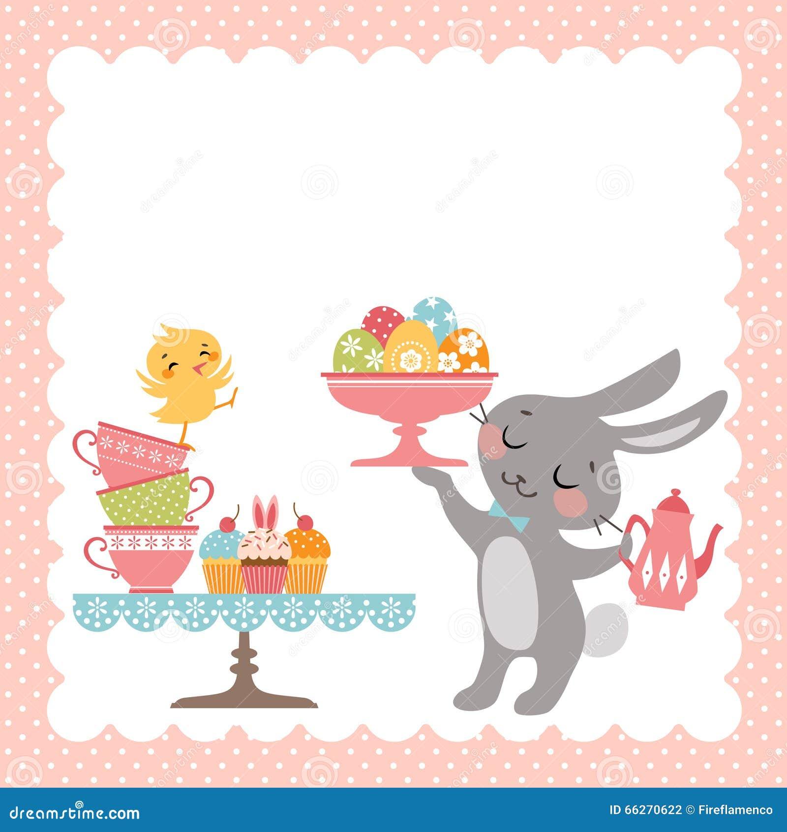 Easter Rabbit Tea Party Stock Vector - Image: 66270622