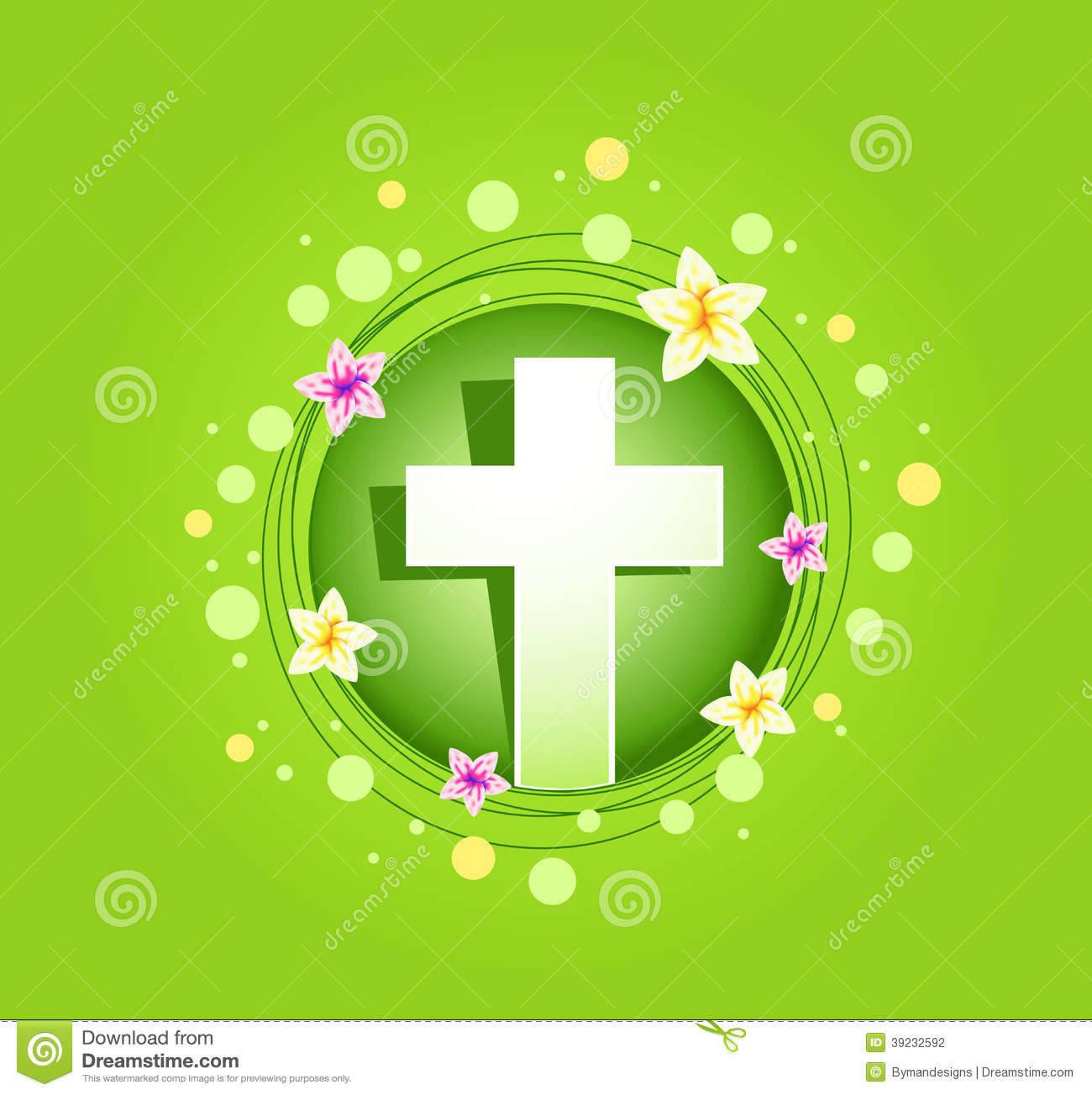 Easter Religious Cross Spring Card Stock Vector - Image: 39232592