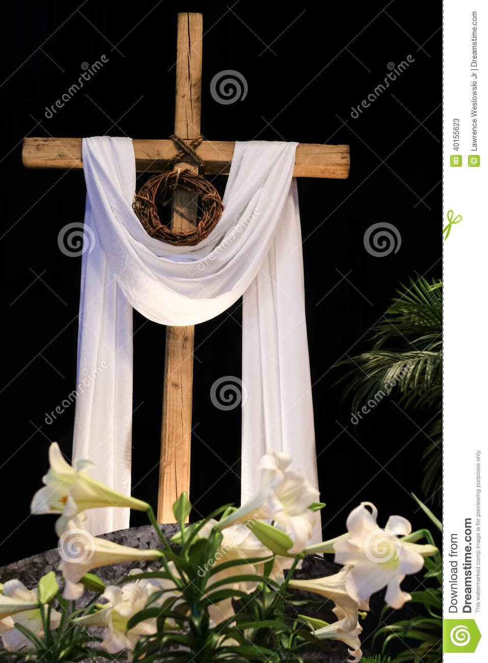 ... - Lilies, Cross And Crown Of Thorns Stock Photo - Image: 40155623