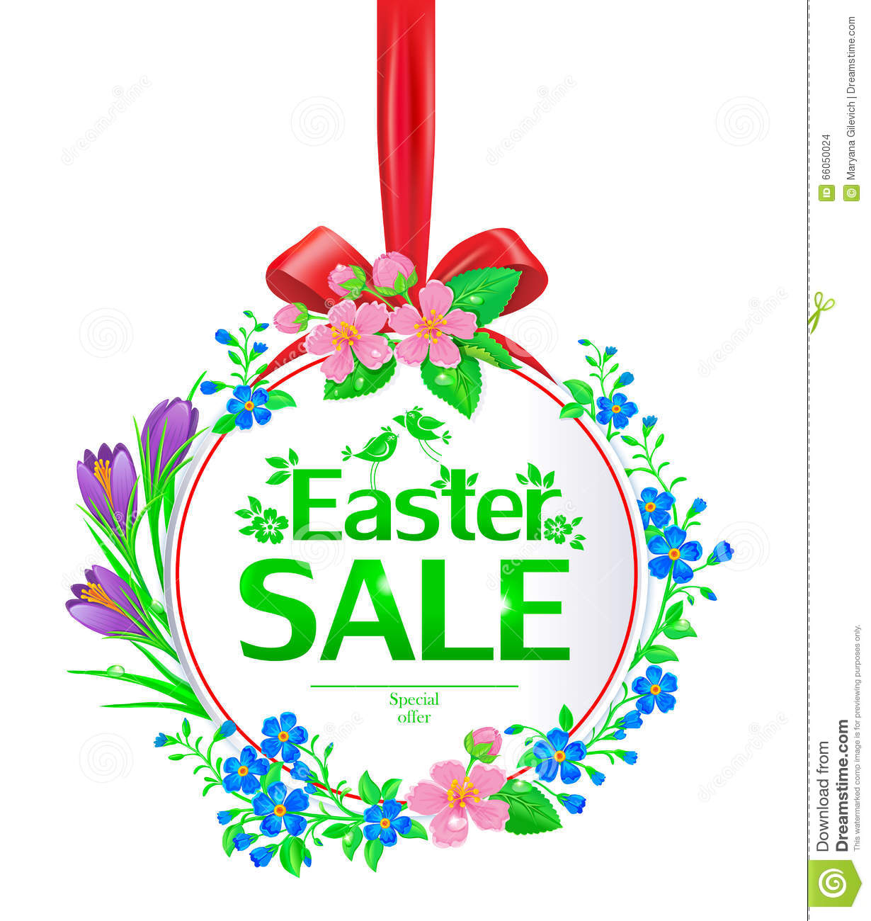 Easter Sale: Easter Sale Banner Round Stock Vector. Illustration Of