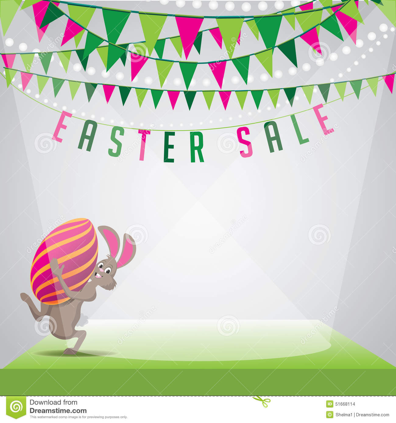 Easter Sale: Easter Sale Bunny Egg And Bunting Background EPS 10 Vector
