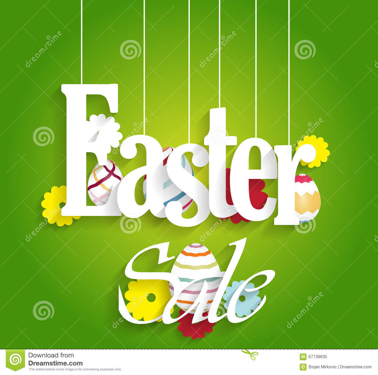 Easter Sale: Easter Sale Poster With Eggs And Flowers Stock Vector