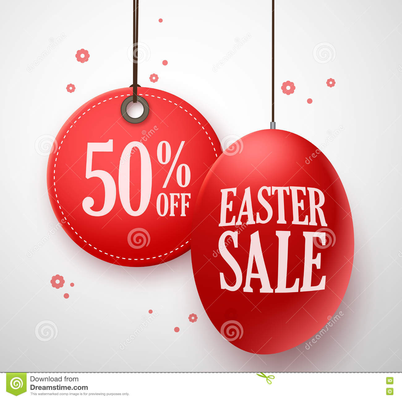 Easter Sale: Easter Sale In Red Egg With 50% Off Price Tag Hanging In