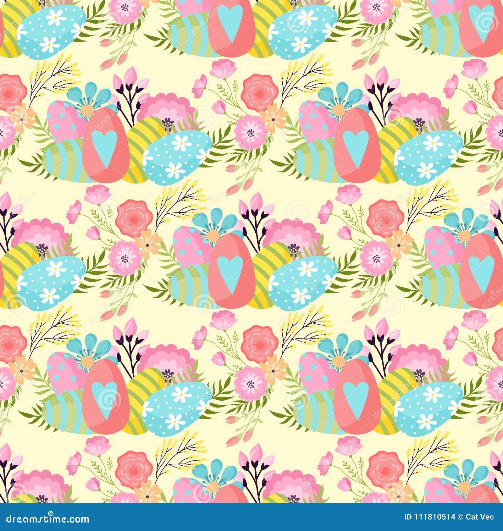 Easter Seamless Pattern Background Design Vector Holiday Celebration