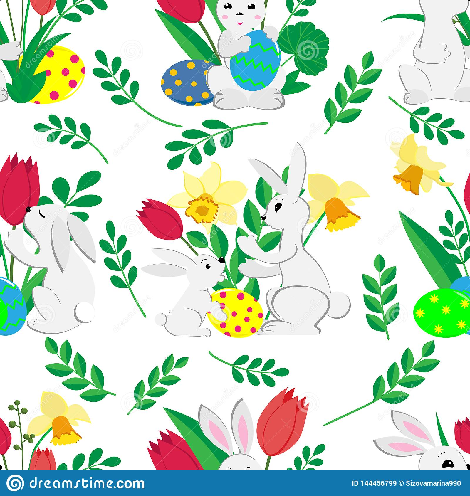 Easter seamless pattern with cute bunnies , painted eggs and spring tulips and daffodils on white background