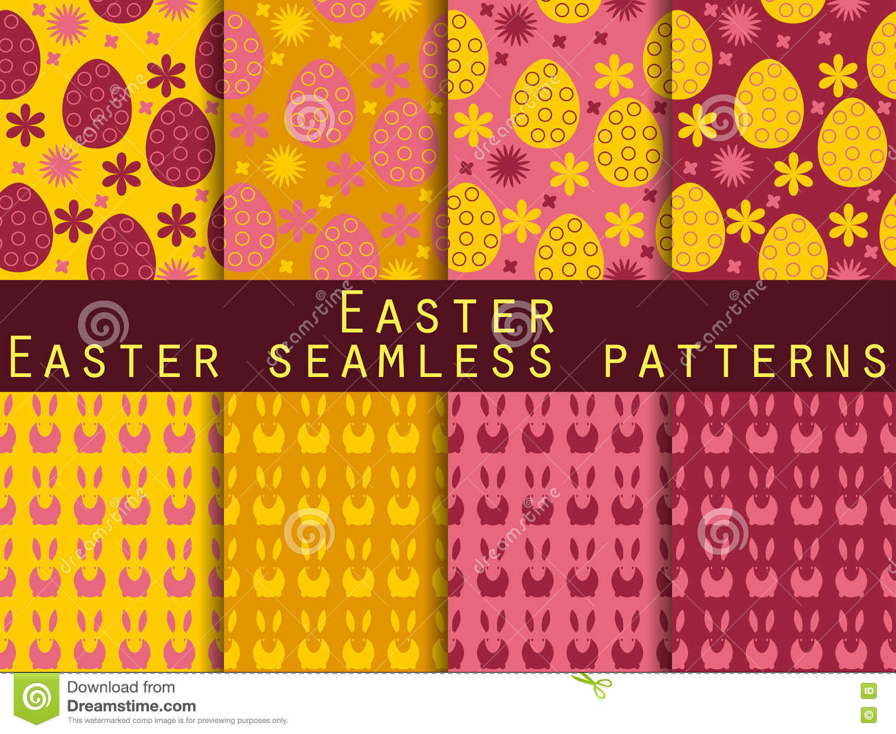 Easter. Set Of Seamless Patterns. Easter Bunny And Easter