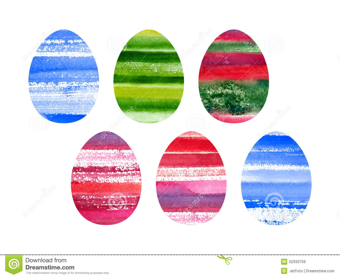 Easter set of watercolor colored eggs