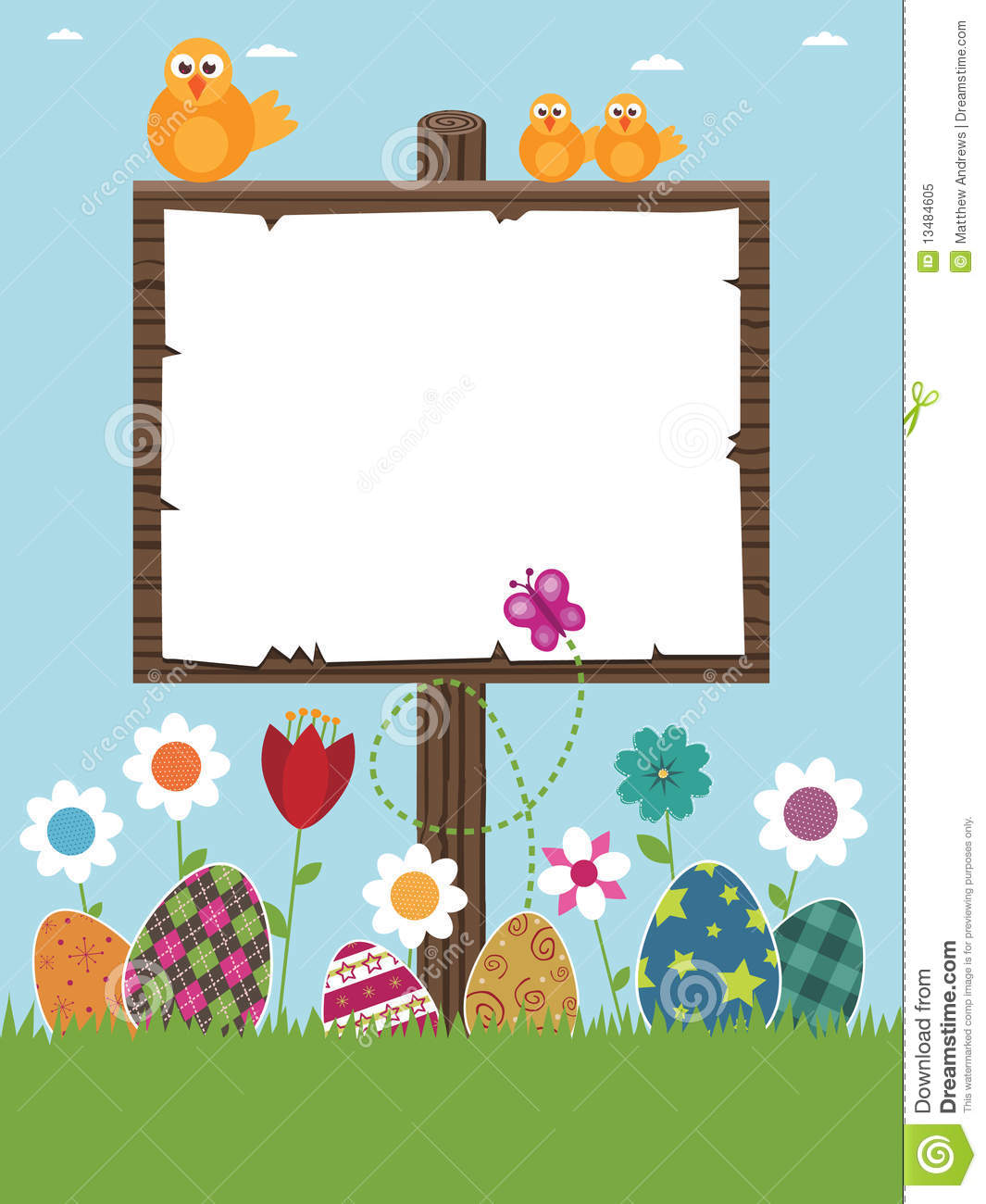 Easter sign post ready for your text with eggs, flowers and chicks.