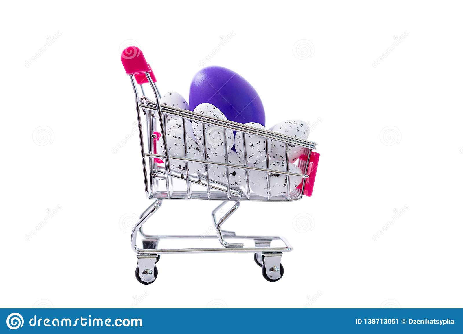 Easter Small Quail Eggs And Big One In A Shopping Cart Stock Image