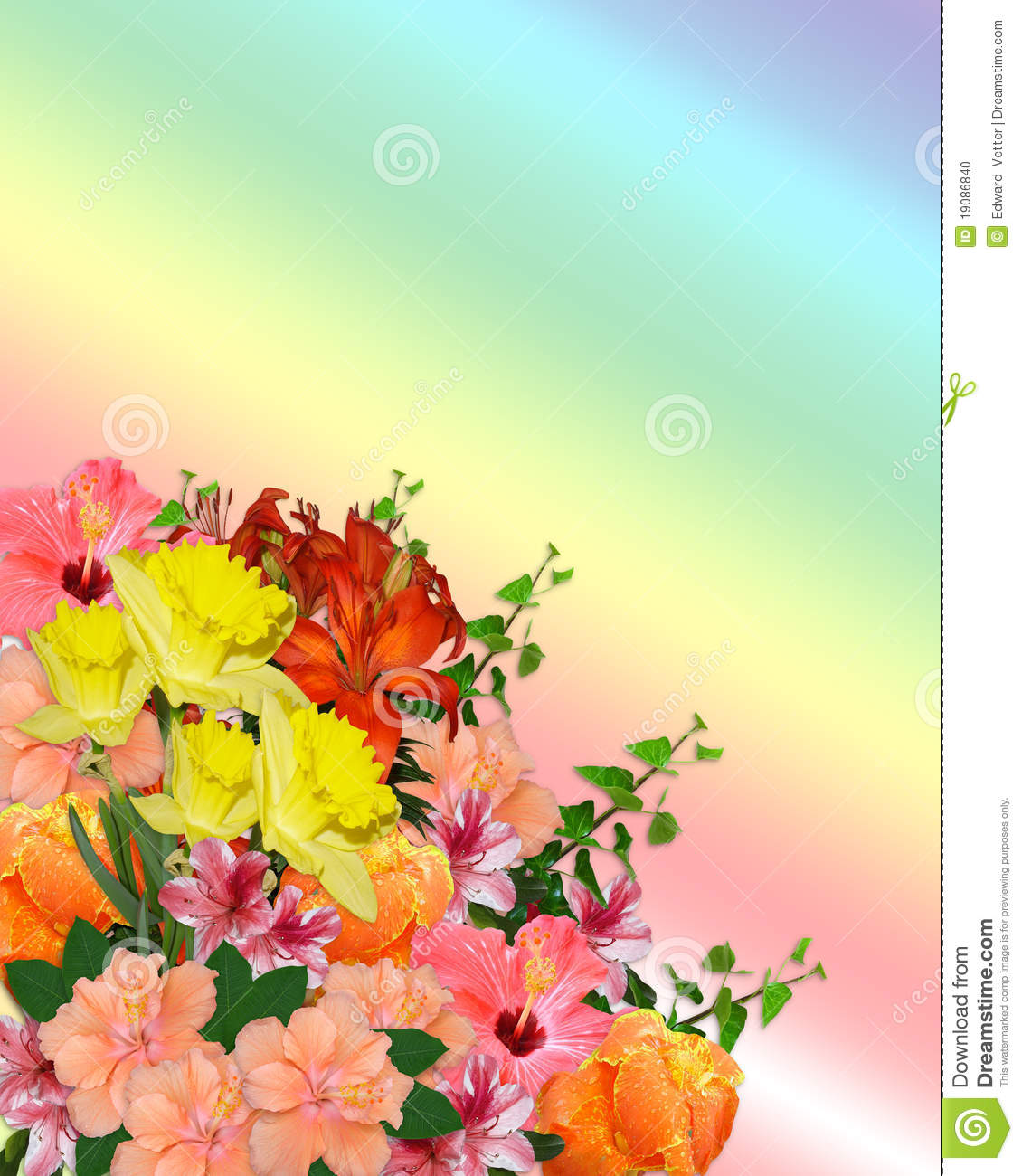 Image and illustration composition of spring flowers bouquet for