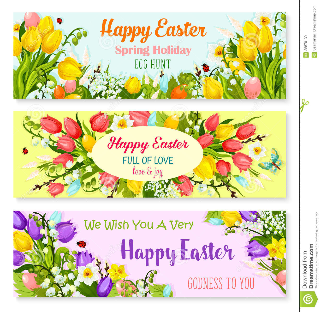 Easter Spring Holiday Greeting Vector Banners Set Stock Vector