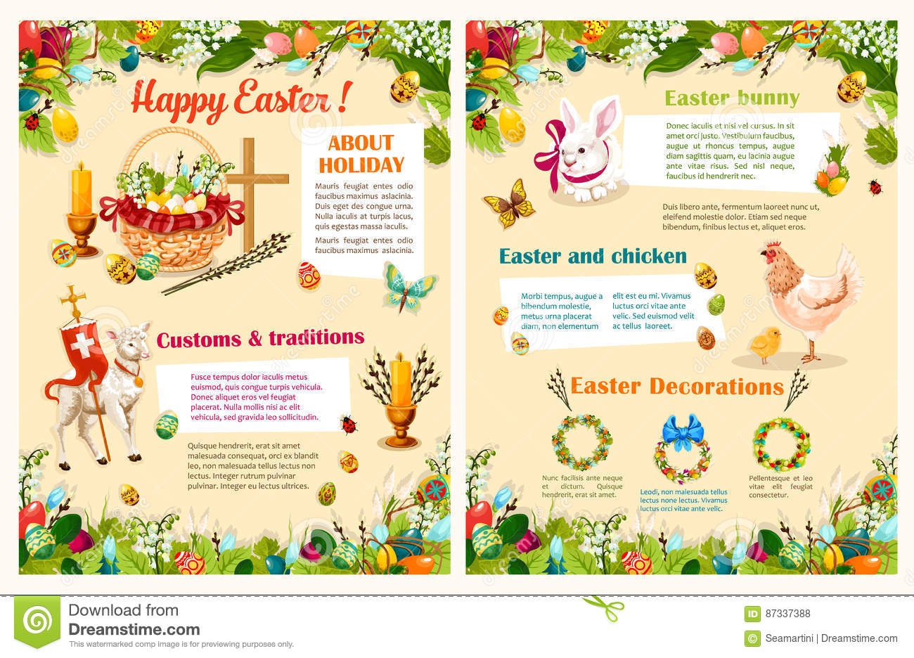 Easter Spring Holidays Brochure Template Design Vector – Easter Brochure Template