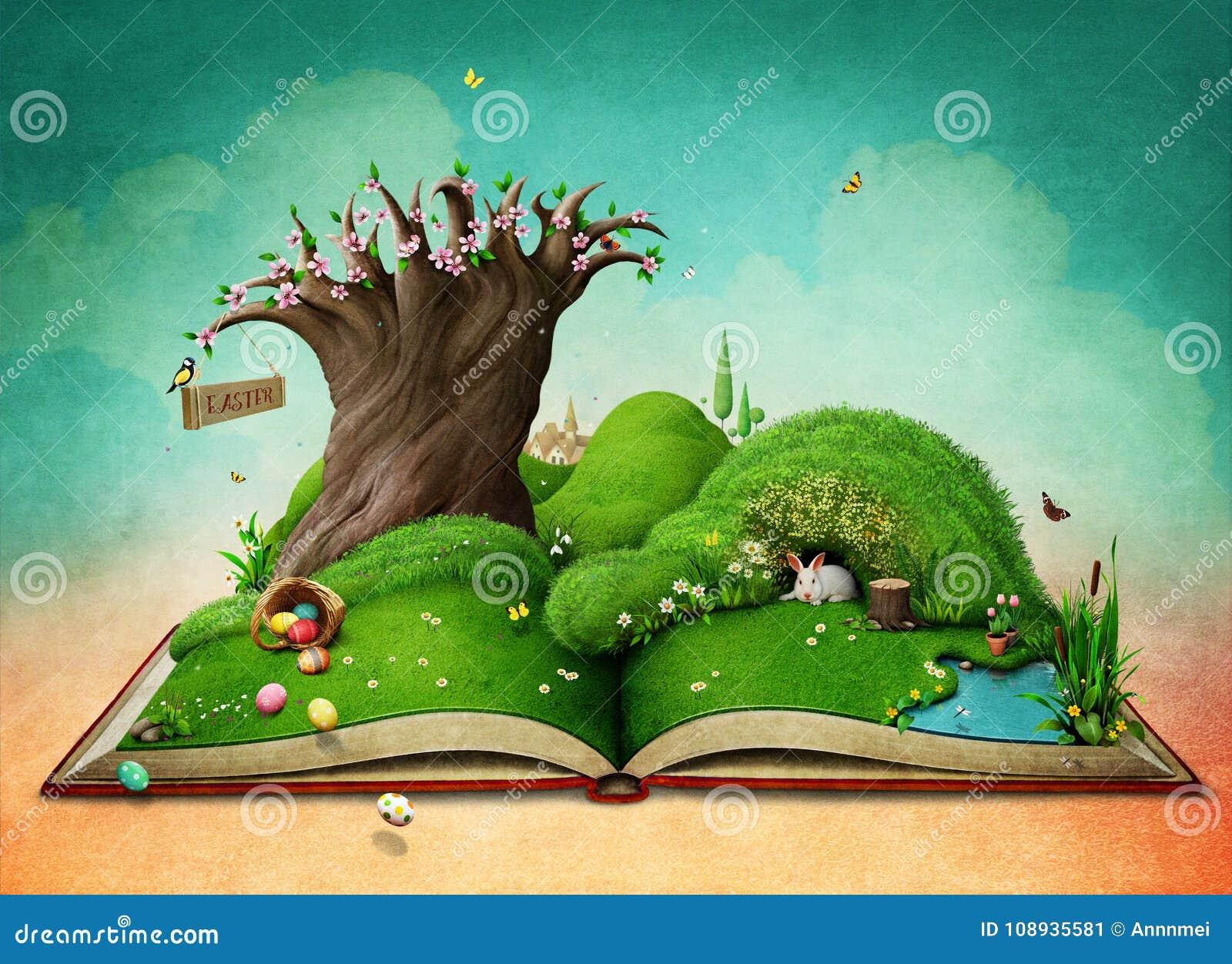 Easter Spring Landscape On The Book  Stock Illustration