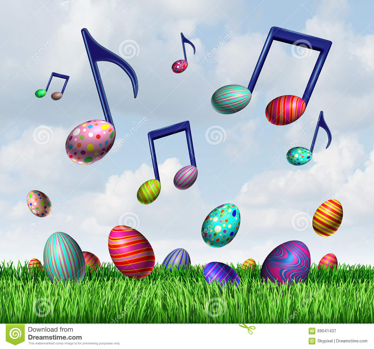Easter spring music symbol as a group of easter eggs in the grass and ...