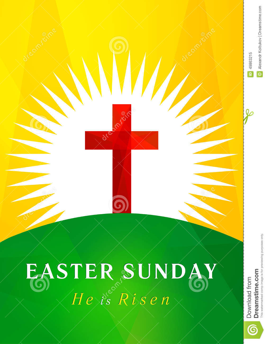 Easter Sunday Calvary Card Stock Vector Illustration Of Hill 49863215
