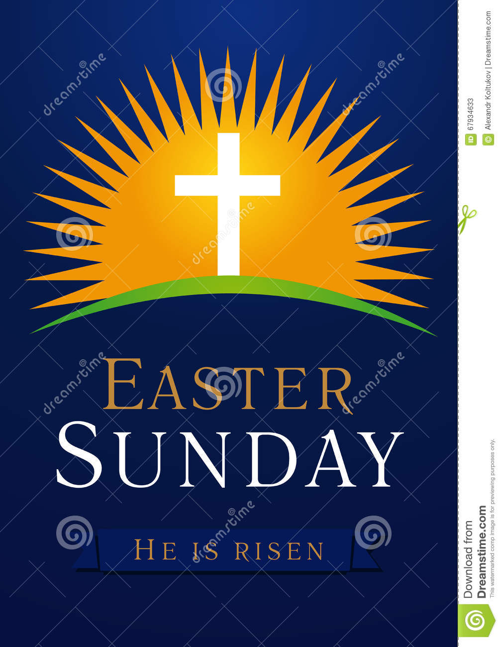 Easter Sunday Calvary Sun Card Stock Vector Illustration Of