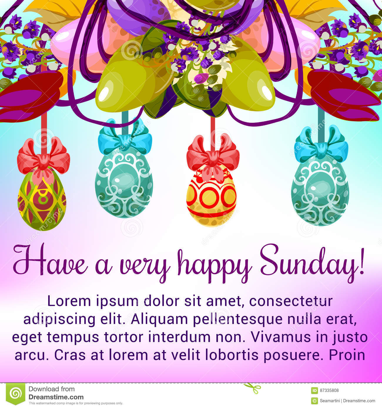 Easter Sunday Greeting Card With Egg And Flower Stock Vector